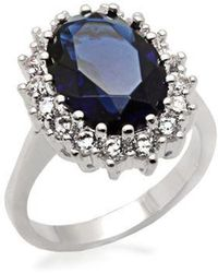 Michela - Oval Faux Sapphire Ring With Cubic Zirconia - Lyst