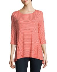 Jones New York - Stripe Godet-hem Top - Lyst