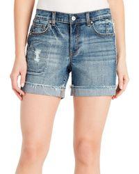 Kensie - Bermuda Distressed Denim Shorts - Lyst