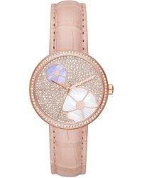 Michael Kors - Watches S Courtney Rose Gold-tone And Blush Croco Leather - Lyst