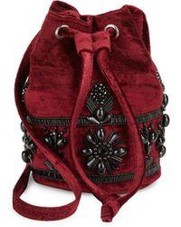 Steve Madden - Beaded Velvet Bucket Bag - Lyst