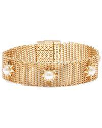 Sole Society Goldtone & Faux Pearl Mesh Bracelet