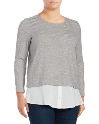 Calvin Klein | Plus Textured Long-sleeve Blouse | Lyst