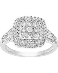 Lord + Taylor - Square Diamond And 14k White Gold Ring - Lyst