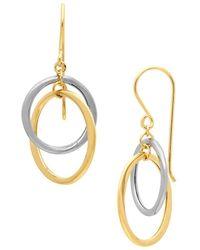 Lord & Taylor - 14k Two-tone Gold Interlocking Hoop Earrings - Lyst