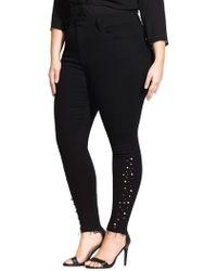 City Chic - Plus Asha Beaded Skinny Jeans - Lyst
