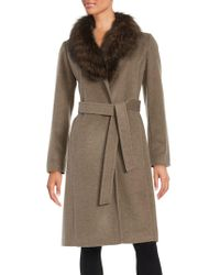 Ellen Tracy - Blue Fox Trim Walking Coat - Lyst