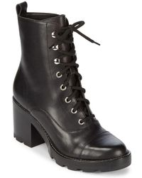 Marc Fisher - Wanya Stacked Heel Leather Boots - Lyst
