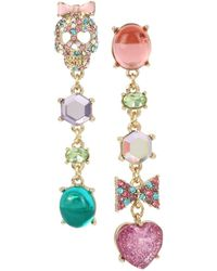 Betsey Johnson - Goldtone And Mixed Stone Skull Linear Mismatch Earrings - Lyst