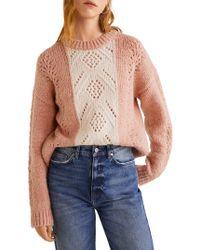 Mango - Colorblock Crewneck Sweater - Lyst