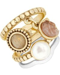 Lucky Brand - Nouveau Americana Faux Pearl Stack Ring - Lyst