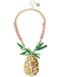 Betsey Johnson Picnic Pineapple Goldtone & Multicolored Crystal Pendant Necklace