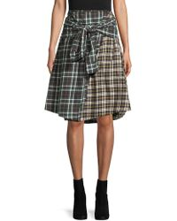 French Connection - Mixed Plaid Knee-length Cotton Skirt - Lyst