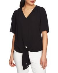Chaus - Short Sleeve Tie-front Blouse - Lyst