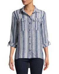 Jones New York - Graphic Linen Button-down Shirt - Lyst