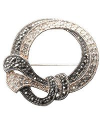 Lord & Taylor - Sterling Silver And Marcasite Crystal Round Pin - Lyst