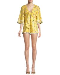 Finders Keepers - Woodlands Floral Flared-sleeve Playsuit - Lyst