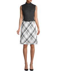 Jones New York - Belted Rib-tweed Combo Dress - Lyst