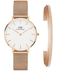 Daniel Wellington Melrose Stainless Steel Watch And Rose Gold Cuff Gift Set