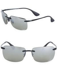 c0ccbe6604a Ray-Ban Rb831662 Logo-temple Rectangular Sunglasses in Black for Men ...