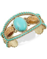 Lucky Brand - Cowgirl California Turquoise & Jasper Cuff Bracelet - Lyst