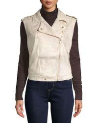 Jones New York - Faux Suede Sleeveless Moto Jacket - Lyst