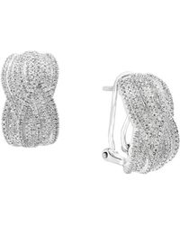 Effy - Diamond & Silver Earrings - Lyst