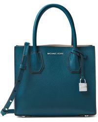 c5b1f19e145542 Michael Michael Kors Mercer Medium Leather Messenger Bag in White - Lyst