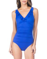 Lauren by Ralph Lauren | Beach Club Ruffle One-piece Swimsuit | Lyst