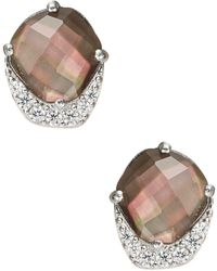 Nadri - Black Mother-of-pearl And Sterling Silver Abstract Stud Earrings - Lyst