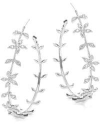 Tai - Silvertone Floral Hoop Earrings- 1.25 In. - Lyst