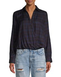 e76b966062 Beach Lunch Lounge Elyse Plaid Frayed Hem Blouse in Red - Lyst