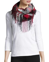 Lord & Taylor - Fringed Plaid Infinity Scarf - Lyst