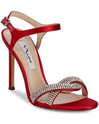 Nina - Davia Embellished Satin Stiletto Heels - Lyst