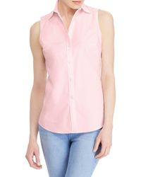 Lauren by Ralph Lauren - Stretch Sleeveless Button-down Shirt - Lyst