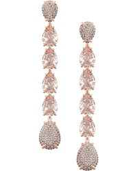 Swarovski - Rose Goldplated And Crystal Mix Linear Earrings - Lyst