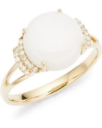 Lord + Taylor 14k Yellow Gold Diamond And Opal Ring