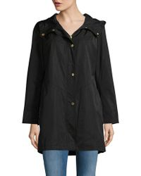 Ellen Tracy - Petite Hooded Snap-button Mid Length Lightweight Coat - Lyst