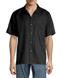 Tommy Bahama Grill & Chill Button Front Shirt - Black