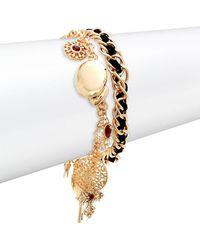 Noir Jewelry Goldtone Embellished 2-row Charm Bracelet - Metallic