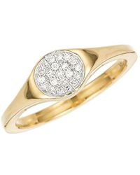 Adina Reyter - 14k Yellow Gold & Small Pave Diamond Disc Signet Ring - Lyst