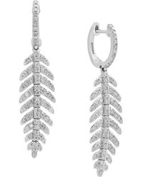 Effy - Pave Classica Diamond And 14k White Gold Drop Earrings - Lyst