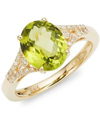 Lord + Taylor 14k Yellow Gold Diamond And Peridot Ring