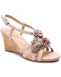 Tahari - Favor Floral Suede Wedge Sandals - Lyst
