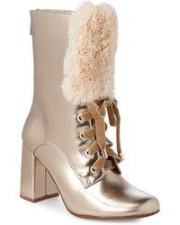 Nanette Nanette Lepore - Freya Faux Fur-trim Leather Booties - Lyst