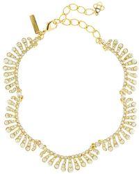 Oscar de la Renta Curved Swarovski Crystal Necklace - Metallic