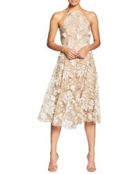 Dress the Population - Evelyn Embroidered Fit-and-flare Dress - Lyst