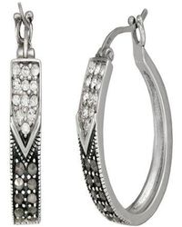 Lord & Taylor - Sterling Silver And Marcasite Hoop Earrings - Lyst