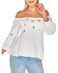 13760d74e0f118 Dorothy Perkins - Embroidered Off-the-shoulder Top - Lyst