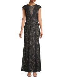 08af4d4cda96 Xscape - Lace Cap-sleeve Column Gown - Lyst